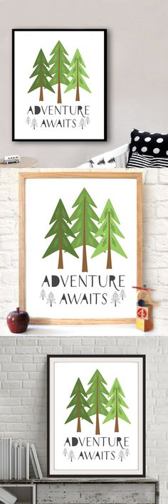Adventure Awaits Printable Art Quote Pine Trees Wall Print Canvas Art Painting by Numbers Pictures Modern Home Decor no frame $6.99