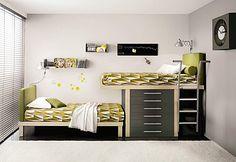 Este formato é diferente e permite que a 2a. cama seja mais baixa. Mas é necessário uma parede com uns 3,60m.