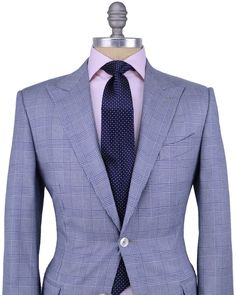 Ermenegildo Zegna | White with Blue Glen Plaid Sharp Dressed Man, Well Dressed Men, Blazer Fashion, Suit Fashion, Costume Africain, Tom Ford Suit, Mens Suits, Grey Suits, Look Man