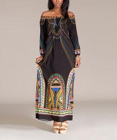 Black Abstract Off-Shoulder Maxi Dress #zulily #zulilyfinds
