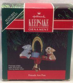 1991 Hallmark Friends are Fun Rabbits on teeter-totter Keepsake Ornament NIB