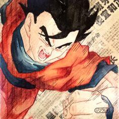 Mystic Gohan // Gouache, graphite pencil, watercolor pencils, liquid watercolors & pastel on newspaper / 20x20cm / 2013 by Héctor Jenz