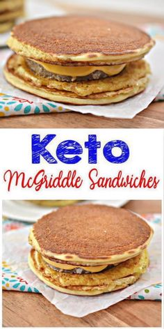 Here is a quick & easy homemade McGriddle keto sandwich recipe. If you are looking for a delicious, tasty McGriddle for a low carb diet then try this . No Egg Pancakes, Keto Pancakes, Waffles, Coconut Flour Pancakes, Chocolate Pancakes, Fluffy Pancakes, Buttermilk Pancakes, Best Keto Breakfast, Fast Food Breakfast