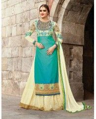 1. Sea green and cream georgette lehenga style suit 2. Heavy floral thread and zari embroidery on yoke, sleeves and hem with lace border 3. Comes with a matching bottom and dupatta 4. Can be stitched upto bust size 42 inches