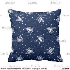 White Snowflakes with Polka Dots Throw Pillow