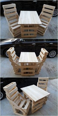 You will be falling in love with this ideal creation of wood pallet chairs and table design that is so innovative looking! Well, the whole designing of the chairs and so as the table has been beautifully decorated with the wood pallet use in it whose middle section has been settled holes. Are you ready to try such a artistic wood pallet chairs and table furniture in your house outdoor areas?