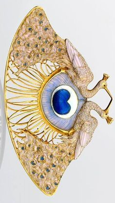 "René Lalique. Gold & Enamel ""Two Peacocks"" Pendant, circa 1897-1898."