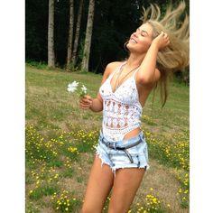 #flowerchild Bri is wearing #annakosturova handmade #crochet Filigree monokini #behindthescenes Mandy-Lyn.com