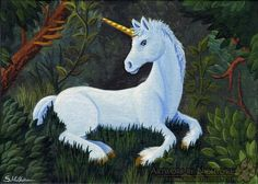 Forest Child by Sarrah Wilkinson - An acrylic painting of a baby unicorn laying…