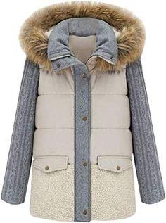 neveraway Womens Winter Coat Linen Cotton Hoodie Floral Wadded Jacket