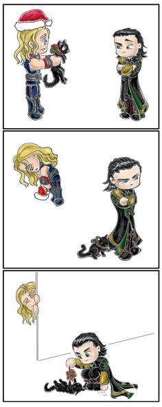 Thor gives Loki a cat for Christmas Loki Avengers, Loki Marvel, Loki Thor, Tom Hiddleston Loki, Loki Laufeyson, Marvel Art, Marvel Heroes, Marvel Comics, Marvel Films