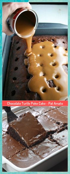 Chocolate Turtle Poke Cake - Pat Amato #Amato #Cake #Chocolate #Pat #Poke #Turtle #CupcakeBirthdayCake Chocolate Fondue, Chocolate Cake, Chocolate Turtles, Cupcake Birthday Cake, Poke Cake Recipes, Waffles, Pudding, Breakfast, Desserts