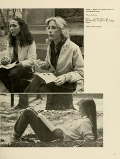 """Spectrum Green yearbook, 1982. """"Bagels are a good choice for an afternoon snack"""" --probably from the Bagel Buggy! Two women take a snack break on College Green at the Monument, while another woman studies outside. :: Ohio University Archives"""