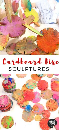 Cut out cardboard building discs and stack to make awesome recycled sculptures. An open-ended art activity that provides hours of fun for kids! # art projects for kids Create These Awesome Sculptures with Cardboard Building Discs Art Activities For Kids, Preschool Art, Art For Kids, Crafts For Kids, Crafts Cheap, Kindergarten Art, Therapy Activities, Summer Crafts, Recycled Art Projects