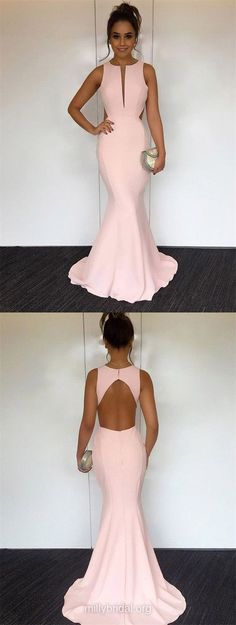 Pink Prom Dresses, Long Prom Dresses, 2018 Prom Dresses For Teens, Trumpet/Mermaid Prom Dresses Scoop Neck, Silk-like Satin Prom Dresses For Girls #fashiondress