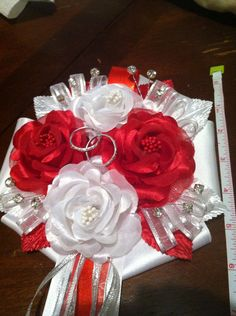 Red & white bridal shower corsage on Etsy, $15.00