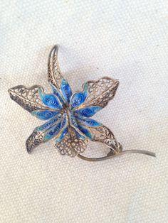 Vintage Enamel Brooch, Filigree Brooch pin, enamel and filigree brooch pin…