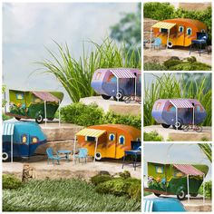 Fairy Garden Camper with Awning   Let your fairies road trip and camp in style! A pull-behind camper will look adorable in your miniature fairy garden with its bright colors and fun accents. Each camper features its own details, but all include a striped awning to protect fairies from the sun and rain and a door that actually works! You'll love all of the different accents like the little windows, the door and tiny tire that make these campers so realistic. Handmade and hand-painted i