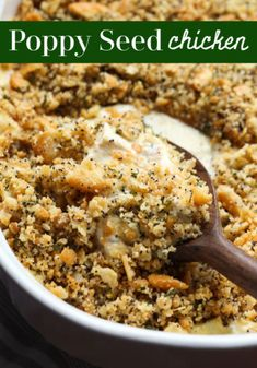 creamy chicken casserole Poppy Seed Chicken is an incredibly easy chicken dinner recipe that everyone loves! Creamy chicken topped with buttery, crunchy Ritz crackers breadcrum Poppy Seed Chicken, Creamy Chicken Casserole, Easy Chicken Dinner Recipes, Chicken Meals, Recipes Dinner, Ritz Crackers, Casserole Recipes, Casserole Dishes, Food To Make