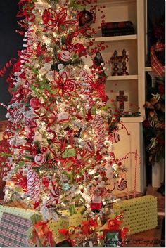whimsical red & white tree via @Katherine Adams Farley Hospitality Rhoda