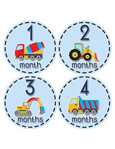 Months in Motion 810 Monthly Baby Stickers Construction Trucks Baby Boy Month 112 Milestone Age Sticker Photo Prop ** See this great product for home decor. Baby Milestone Chart, Baby Monthly Milestones, Monthly Baby, Project Life Baby, Baby Month Stickers, Baby Equipment, Baby Growth, Baby Clip Art, Baby Keepsake
