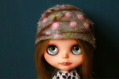Cherry Blossom Blythe Hat - Needle Felted Beaded Wool Cloche. , via Etsy....Felted hat