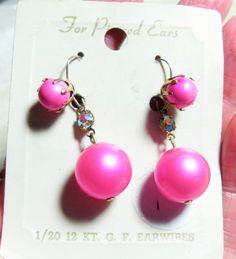 Pink bead gold filled vintage earrings by GingersLittleGems, $10.00