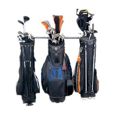 Wall-mounted steel golf bag rack. Holds three golf bags.   Product: Golf bag rackConstruction Material: Powder-co...