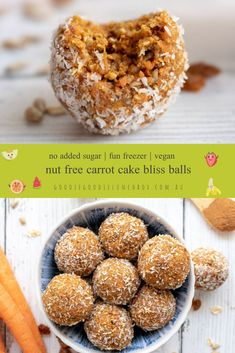 These carrot and oat based Carrot Cake Bliss Balls are a tasty and nutritious nut free snack, perfect for school lunches or as a grab and go snack. They are freezer friendly too. Healthy Carrot Cakes, Healthy Treats, Healthy Desserts, Healthy Kids, Healthy Food, Nut Free Snacks, Good Food, Yummy Food, Tasty