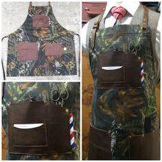 Custom made woodland camo and leather barber apron #sartorandvillain #camo #leather #barber #barbershop #barberapron #customade