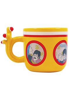 Beatles Yellow Submarine Mug at PLASTICLAND -- when you add hot water, John, Paul, George, and Ringo's images magically appear in the porthole windows to wave hello goodbye to you!