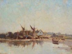 "Edward Seago RWS RBA 1910-1974 ""Summer Evening, Pin Mill"" oil on canvas 18"" x 24"""