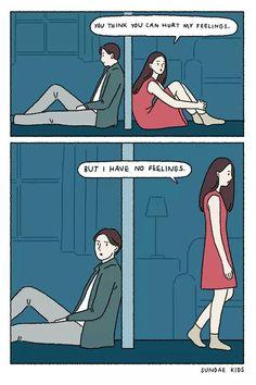 I have no feelings Cute Couple Comics, Couples Comics, Comics Love, Cute Comics, Sundae Kids, Anime Muslim, Cute Love Cartoons, Sad Art, Short Comics