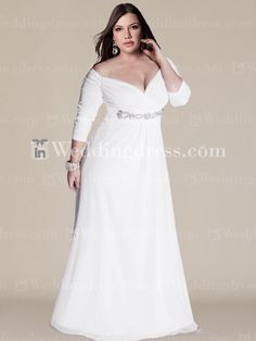 Off-the-Shoulder Plus Size Wedding Gown with Sleeves PS104      $237.00      See more here:  www.inweddingdress.com/style-ps104.html