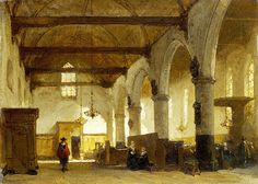 "Bosboom Johannes - Interior Of Bakeneser Church Haarlem Lo N G  (from <a href=""http://www.oldpainters.org/picture.php?/47001/category/15854""></a>)"