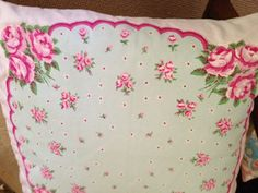 Romantic Pillow Vintage Look Hanky and Linen by LydiaandCompany.