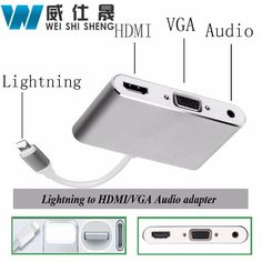 HDMI VGA Audio Headpone Adapter Play Music + Charging Cable Adapter for Iphone Ipad Support iOS 10 #Affiliate