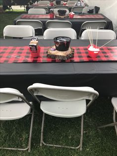 Black Table Cloth with Runner Lumberjack Birthday Party, Wild One Birthday Party, Baby First Birthday, Baby Party, 1st Birthday Parties, Birthday Ideas, Baby Shower Themes, Baby Boy Shower, Shower Ideas