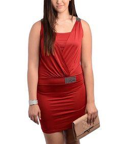 Look at this #zulilyfind! Wine Studded Surplice Dress - Plus #zulilyfinds