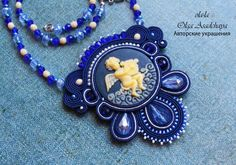 """Pendant """"Angel in the Clouds""""  soutache, acrylic cameo, Czech glass beads, Swarovski crystals, beads, ext. underside of the skin"""