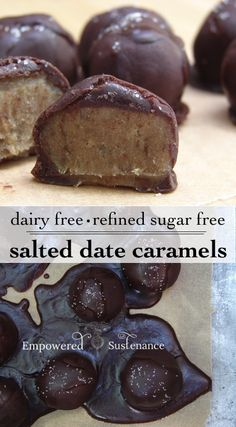 "This Salted Date Caramel recipe is made with a sweet, chewy ""date caramel"" filling, enrobed in a homemade chocolate coating and sprinkled with salt.. ☀CQ glutenfree sweets"