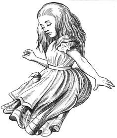 Illustration of Alice based on original book art, recreated for monocular illusions, for the Celebration of Mind, a dedication to Lewis Carol and Martin Gardner.