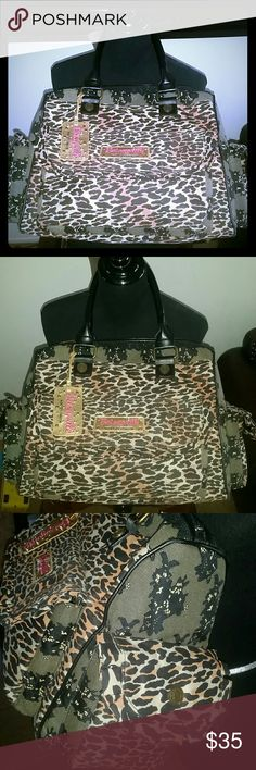 Betsey Johnson Faux Lace Leopard Weekender Gorgeous Print in good condition Light scuffs on corners as pictured. Betsey johnson Bags
