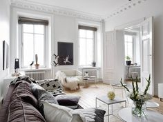 Neutrals and clean lines in an old building - via cocolapinedesign.com