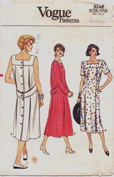 1980s Vogue Pattern 9248 Womens Back Buttoned Dress by CloesCloset, $8.00