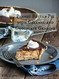 Peanut Butter Pie with Caramel and Chocolate Ganache {www.budgetgourmetmom}