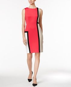 b7719f89eca Calvin Klein Petite Colorblocked Sheath Dress Women - Dresses - Macy s