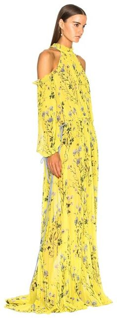 0fc299eac941 self-portrait Yellow Floral Printed Long Casual Maxi Dress Size 8 (M) -