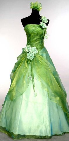green ball gowns | Green Ball Gown Prom Dresses