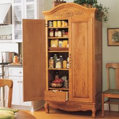 Type of polyurethane by type of wood (to give old wood furniture new gleam.) Also like the idea of using an armoire as a pantry.